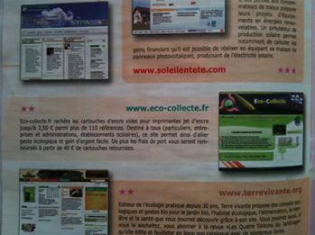 Contenu du magazine parlant du site internet eco-collecte